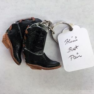 Accessories - Adorable Keychain with Pair of Leather Mini Boots